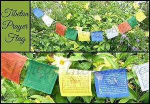 STRING-OF-10-TIBETAN-BUDDHIST-PRAYER-FLAGS-Buddha-1-5-Metres-Long-Prosperity