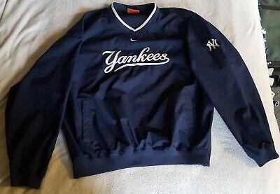 Nike New York Yankees Mens Windbreaker Jacket XL Blue White Pullover V Neck