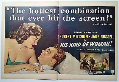 His Kind of Woman!       2-Page 1951 Magazine Ad     Robert Mitchum/Jane Russell