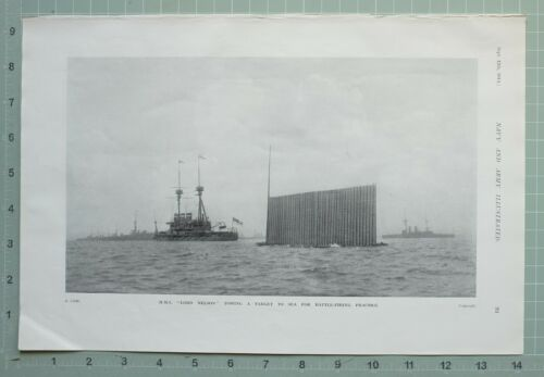 1914 WW1 PRINT LORD NELSON TOWING A TARGET TO SEA BATTLE FIRING PRACTICE