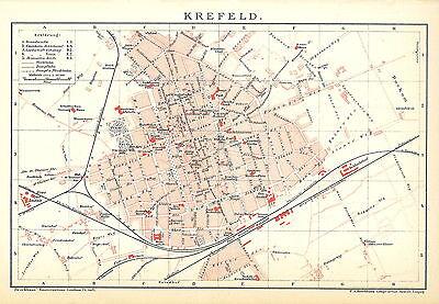 Historische, alte Stadtkarte 1898: Krefeld. Stadtplan farbig (B14)