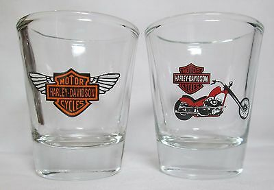 Motorcycle 2 Pc  Set Logos On Clear Shot Glasses Lot  1