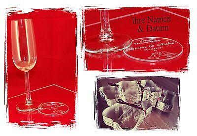 Individuelle NAME & DATUM Untersetzer f. Ihre Hochzeit 12 Designs zur Auswahl
