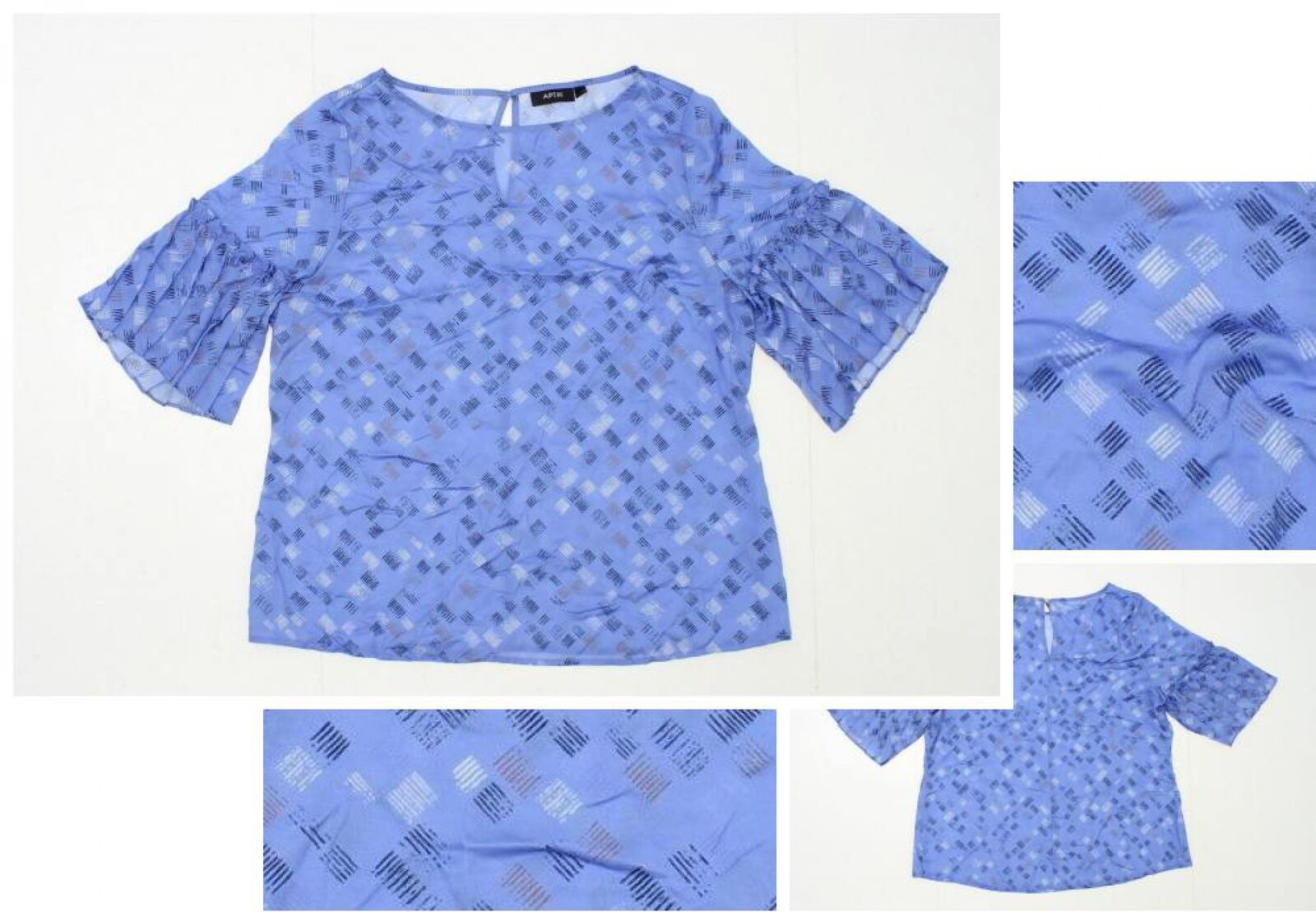 Details about nEW Sample Apartment 9 Women\'s Ruffle Sleeve Blouse Shirt  Blue Size 10 MSRP $36
