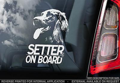 Irish Setter - Car Window Sticker - Dog on Board Sign Art Gift - TYP1