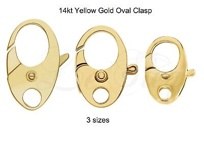 14K Yellow Gold Fancy Nautical Oval Lobster Jaw Claw Trigger Clasp Hook w/Ring  ()