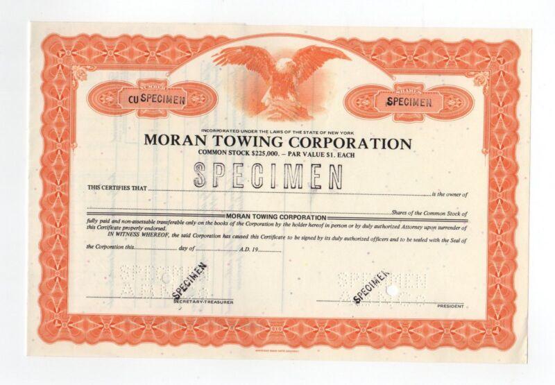 SPECIMEN - Moran Towing Corpoation Stock Certificate