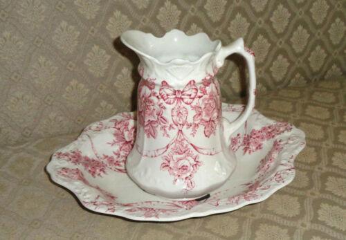 James Kent Ltd. Garland Pink Bowl & Pitcher Set Roses Swags Bows ca. 1910s