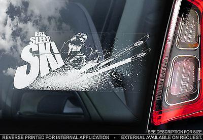 EAT, SLEEP, SKI - Car Window Sticker - Snow Snowboard Graphic X Skier Skiing