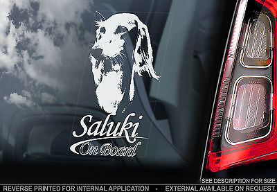 Saluki - Car Window Sticker - Dog Sign Print - Gazelle Hound Persian Greyhound