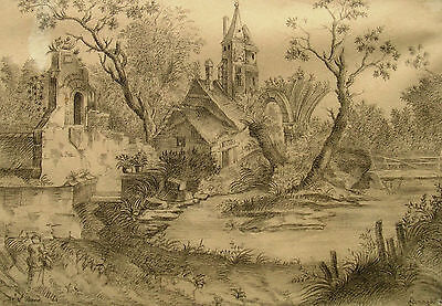 """Leonardo Airaghi 1871-1900 Mailand / Zeichnung """"Ideale Landschaft"""" sign. 1890-95"""