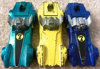 Vintage 1970s Mattel Redline Hot Wheels - Lot 3x STRIP TEASER - Aqua Yellow Blue