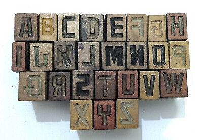 Vintage Letterpress Woodwooden Printing Type Blocks Typography 26pcs 14mmlb216