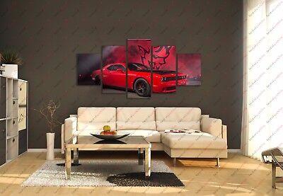 Muscle Car Decor (Dodge Challenger Demon Race Muscle Car Poster Canvas Print Art Home Decor)