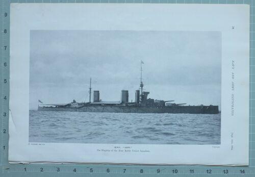 1914 WW1 PRINT HMS LION FLAGSHIP OF FIRST BATTLE CRUISER SQUADRON