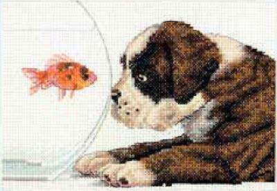 Cross Stitch Mini Kit ~ Dimenisons Dog Bowl Puppy & Goldfish #70-65169