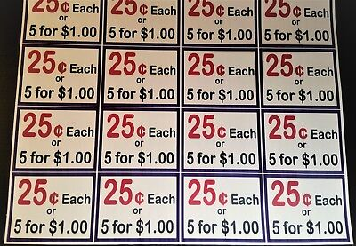 100 Vinyl Stickers 25c Or 5 For 1 Self-adhesive Price Label Vending Honor Box