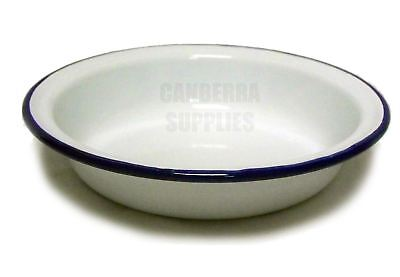 FALCON ENAMEL ROUND CAMPING PIE DISH 16CM WHITE WITH BLUE TRIM FREE SHIPPING ()