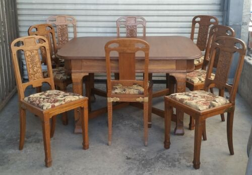 Vtg French Oak Art Nouveau Dining Table 4 Leaves & 8 Chairs with Grape Details