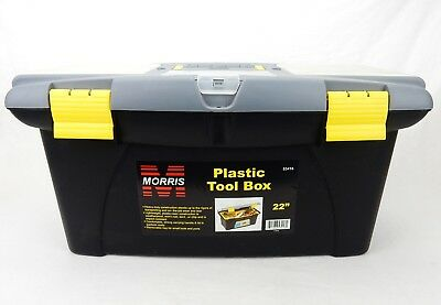"22"" Tool Box, Plastic, Removable Tray, Parts Bins, Bit Storage, Morris #53416"