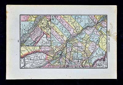 1884 Rand McNally Map - Quebec - Montreal Ottawa Sorel St. Lawrence River Canada
