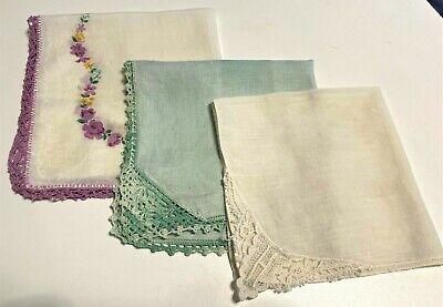 Lot of 3 Crochet edges Vintage Handkerchiefs
