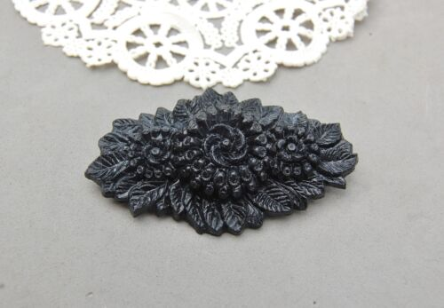 """Mourning Pin Early Black Plastic Molded Floral Flower 2 3/4"""" x 1 5/8"""" Antique"""