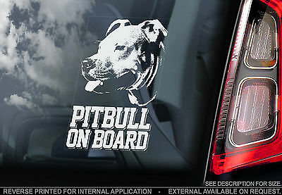 Pitbull - Car Window Sticker - American Terrier Dog on Board Sign Art Gift -TYP1