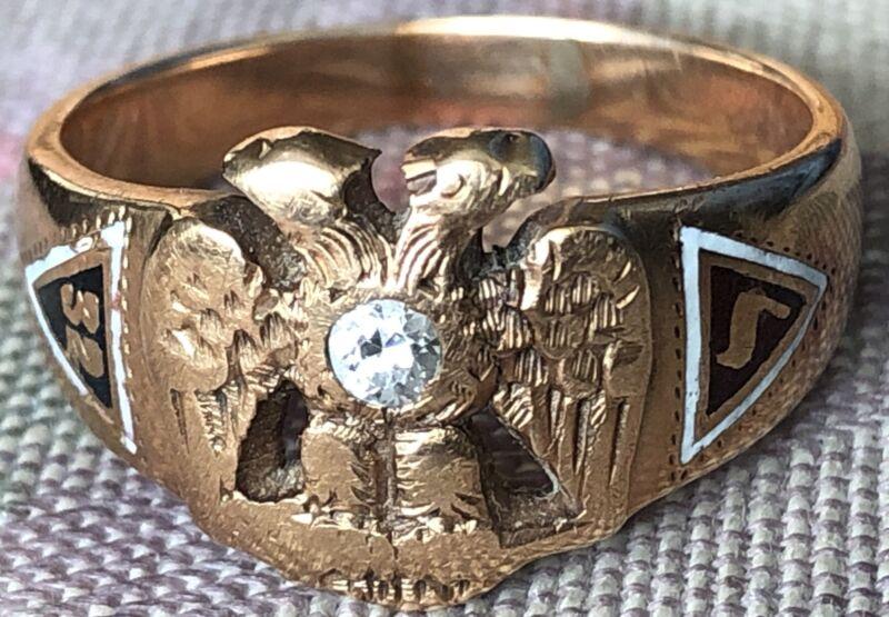 Antique 6.8 Grams 14K Gold & Diamond 32nd Degree Masonic Ring Size 9.6 Masons