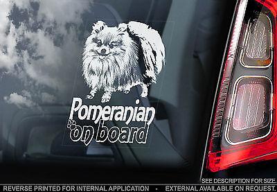 Pomeranian - Car Window Sticker - Zwergspitz Pom Dog on Board Sign Gift - TYP2