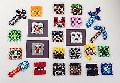 Set of 24 Handmade Minecraft Perler Bead Cupcake Toppers Birthday Cake