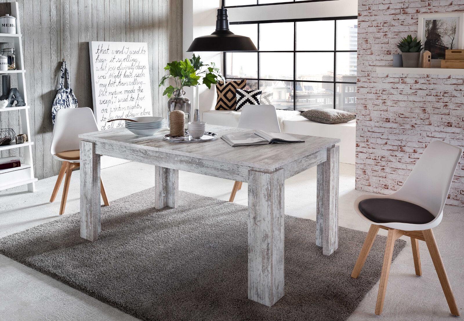 esstisch esszimmer tisch wei pinie shabby holztisch ausziehbar 160 200 cm river eur 214 99. Black Bedroom Furniture Sets. Home Design Ideas