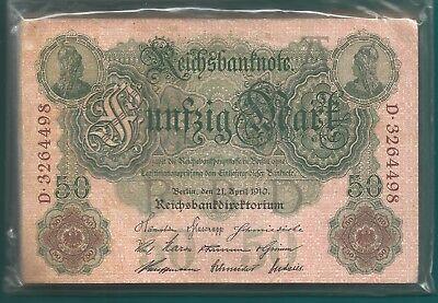 50 Stück Geldscheine - 50 Mark - Berlin 21.4.1910--50 Stück-