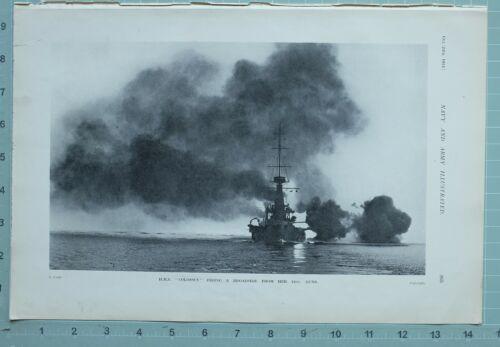 1914 WW1 PRINT HMS COLOSSUS FIRING BROADSIDE 12inch GUNS