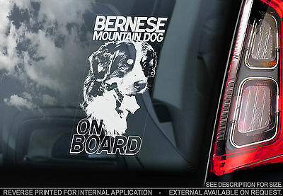 Bernese Mountain Dog - Car Window Sticker - Berner Sennenhund Dog on Board Sign