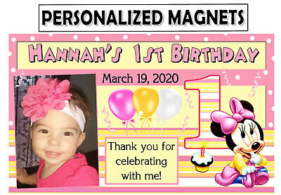 12 BABY MINNIE MOUSE 1ST BIRTHDAY PARTY FAVORS PHOTO MAGNETS