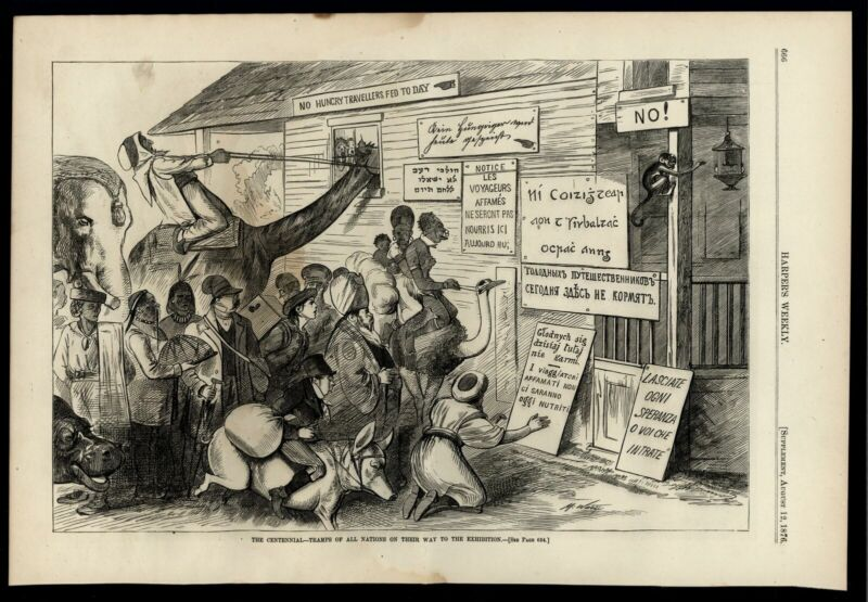 xenophobia anti tourism Philadelphia Centennial 1876 Racist Harpers print