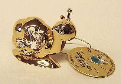 4947 Gold Schnecke Small Snail Swarovski Steine Kristall 24 Karat Crystal 5 cm