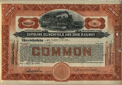 Carolina, Clinchfield & Ohio Railway Stock Certificate
