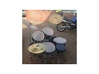 """FULL DRUM KIT, 14""""SNARE,12&13""""TOM TOMS,16""""BASS TOM, HI HAT STAND & CYMBAL, 2 CYMBALS & STANDS, STOOL"""