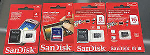 4G / 8 G / 16 G Sandisk micro SDHC card with adapter sealed