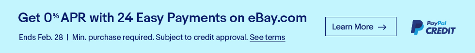 Get 0% APR with 24 Easy Payments on eBay.com | Ends Feb. 28 | Min. purchase required. Subject to credit approval. See terms. | Learn more