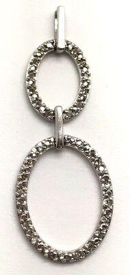 Diamond Double Oval Pendant (Sterling Silver Diamond Pave Halo Double Oval Interlock Elegant Dangle Pendant)