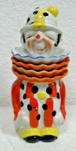 Vintage Japan Ceramic CLOWN TEA Jar Canister Caddy Ruffled Collar Teabag Holders