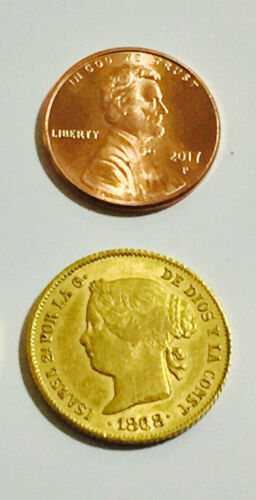 Isabel II 4 peso Spanish Philippines gold coin 1868 <2 available!>