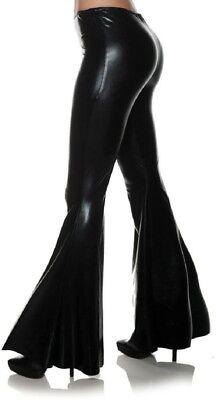 70's Metallic Black Costume Bell Bottoms Disco Flare Pants Adult Women's - Black Women 70s