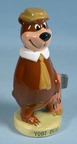 1960s Yogi Bear Glazed China Figurine Early Hanna-Barbera with Foil Label