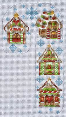 (Needlepoint Handpainted CHRISTMAS Candy Cane Gingerbread House Danji 3x5)