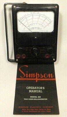 Vintage Simpson Multimeter 260 Voltmeter Vtvm Tested Works W Manual