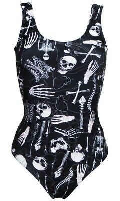 New Gothic Skeletons Skulls Bones Ribcage Heart Anatomy Print Swimsuit Bodysuit ](Anatomy Body Suit)